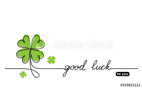 Clover Vector Sketch Good Luck Lettering Signature Quote Lucky Fortune Good Luck Wishes One Conti Good Luck Wishes Vector Sketch Continuous Line Drawing