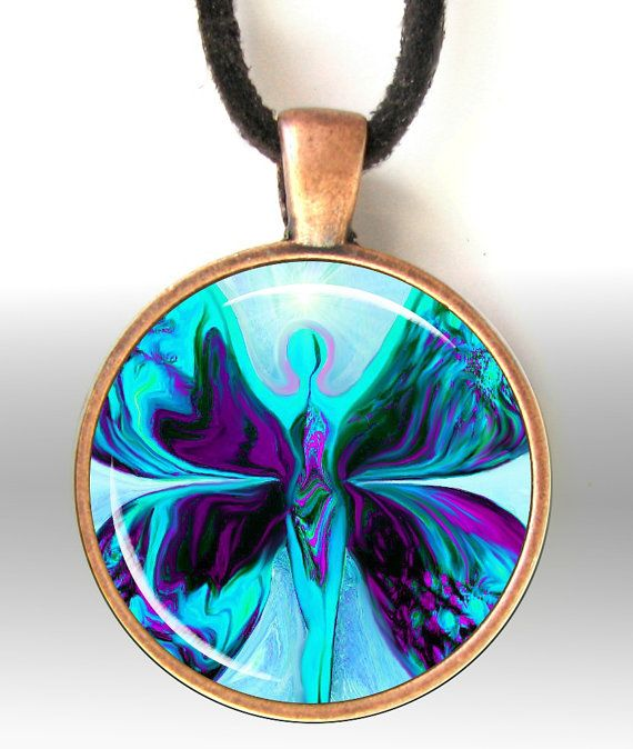 Reiki Jewelry Pendant Necklace Purple Teal Energy by primalpainter, $25.00  This one is beautiful...I love the colours!
