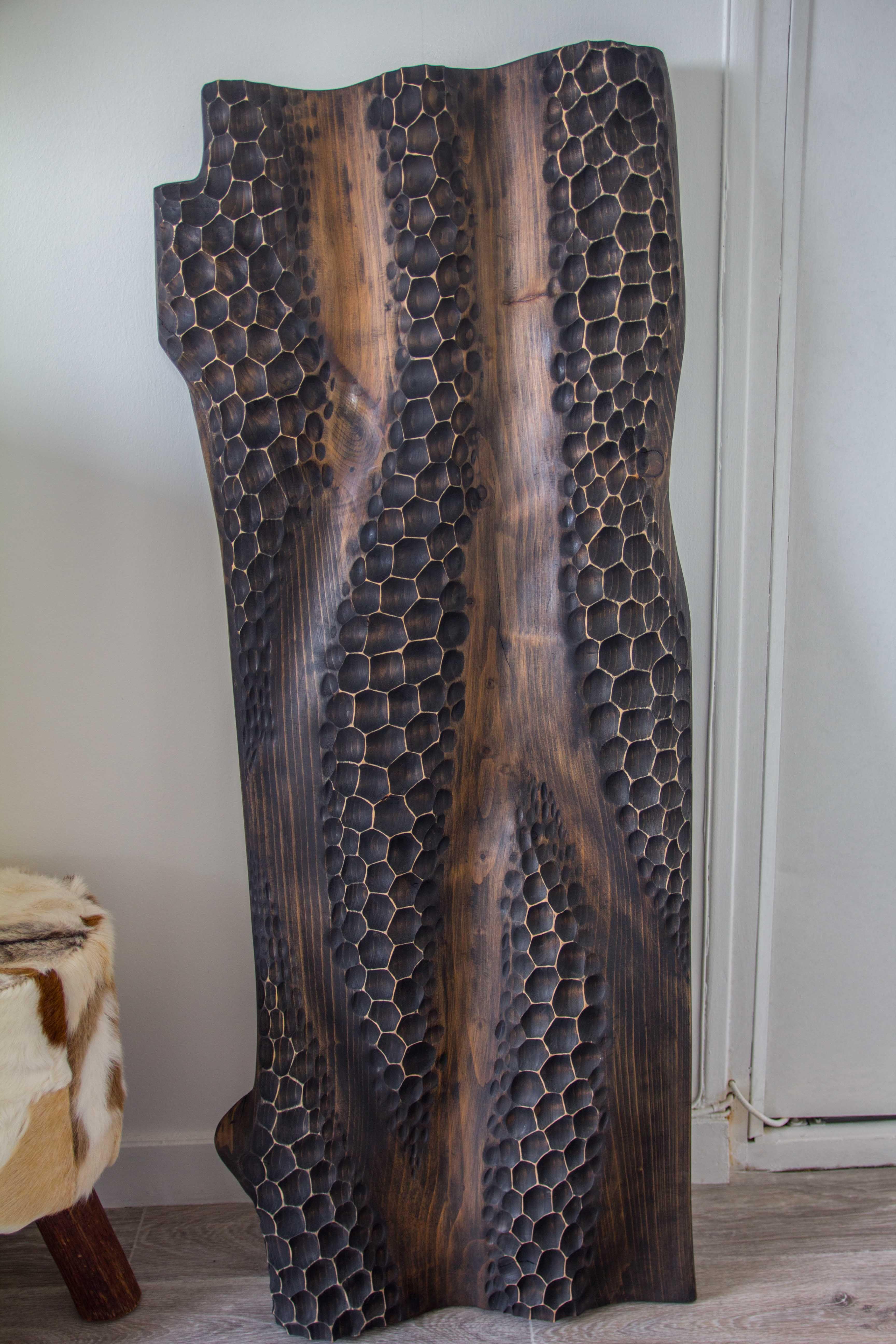 Plateau De Cedre Wood Sculpture By Stephane Derozier