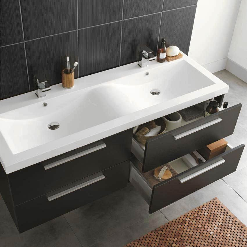 Hudson Reed Quartet Double Basin Vanity Unit Gloss Black 1440mm