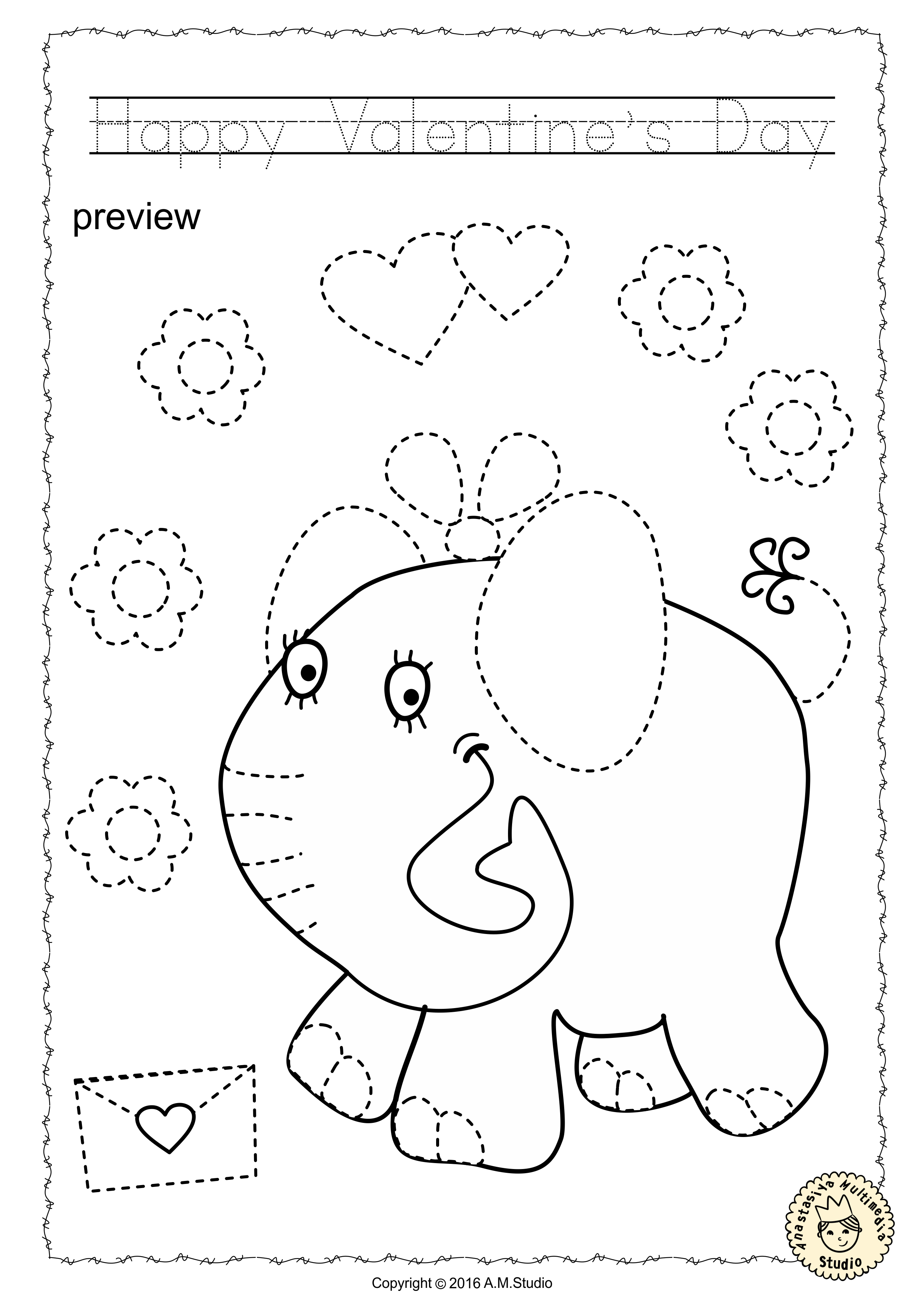 Valentine S Day Trace And Color Pages Fine Motor Skills Pre Writing Anastasiya Multimedia Studio Actividades Iniciales Puntos [ 3511 x 2481 Pixel ]