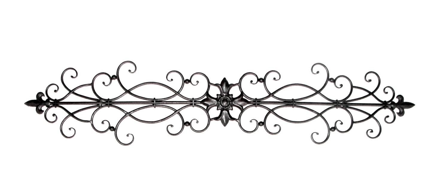 Tuscan 42 Wrought Iron Fleur De Lis Wall Topper Swag This