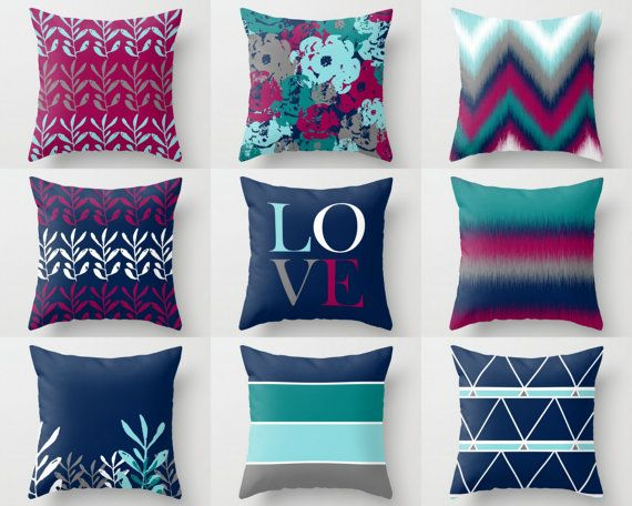 Off White E by design Decorative Pillow Navy Blue
