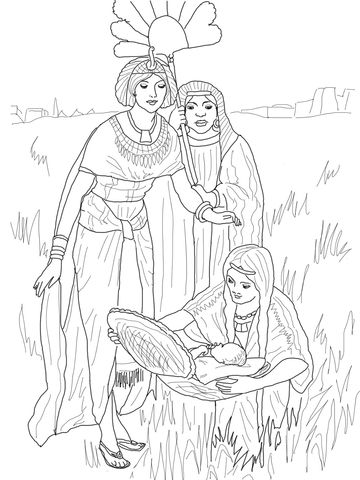 The Finding of Baby Moses Coloring page Moshe Pinterest Baby