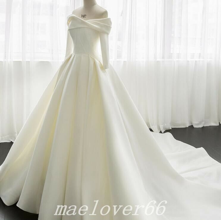 Find Many Great New Used Options And Get The Best Deals For Luxury Off Shoulder Satin Ball Gown Ball Gowns Wedding Ivory Wedding Dress Wedding Dresses Satin