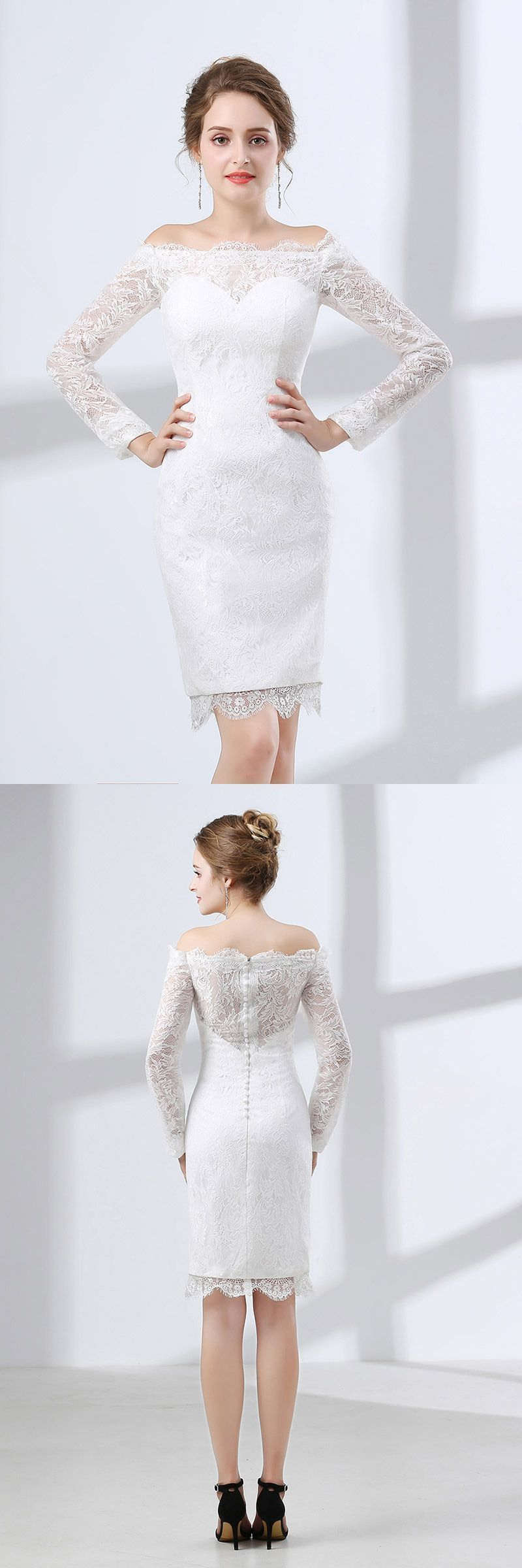 Off white short wedding dresses  Only  Short Wedding Dresses All Lace Cocktail Bridal Dress With