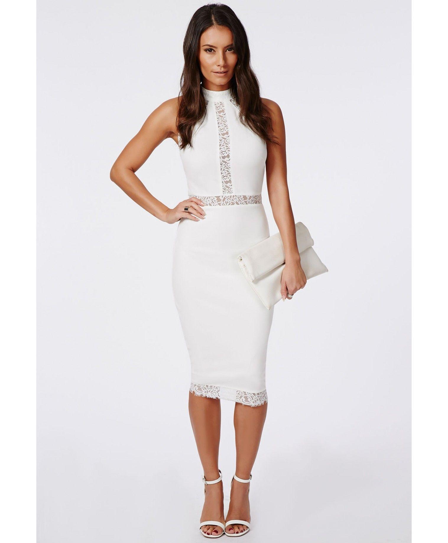 Jay Lace Panel Midi Dress White - Dresses - Midi Dresses - Missguided