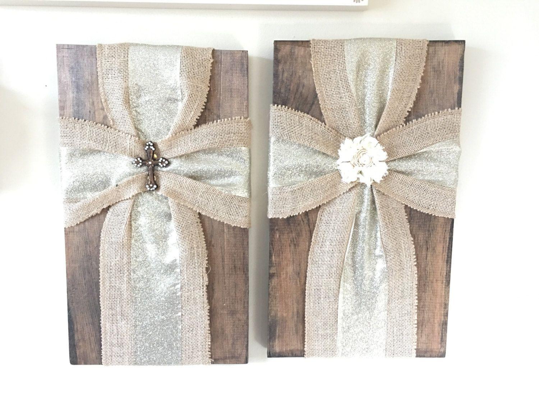 Wood board with burlap ribbon cross This