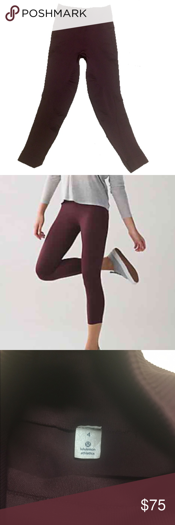 ce7c4a13 Lululemon Zone In leggings Lululemon compression leggings size 4. EUC.  Maroon color, just like shown in the model! Sold out everywhere ! lululemon  athletica ...
