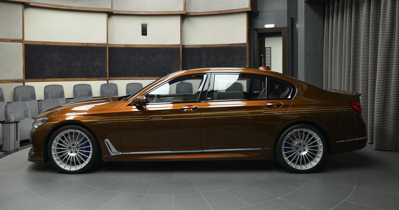 Alpina B7 Individual Certainly Looks Different In Chestnut Brown With Gold Accents Carscoops Bmw Alpina Alpina Bmw 7 Series