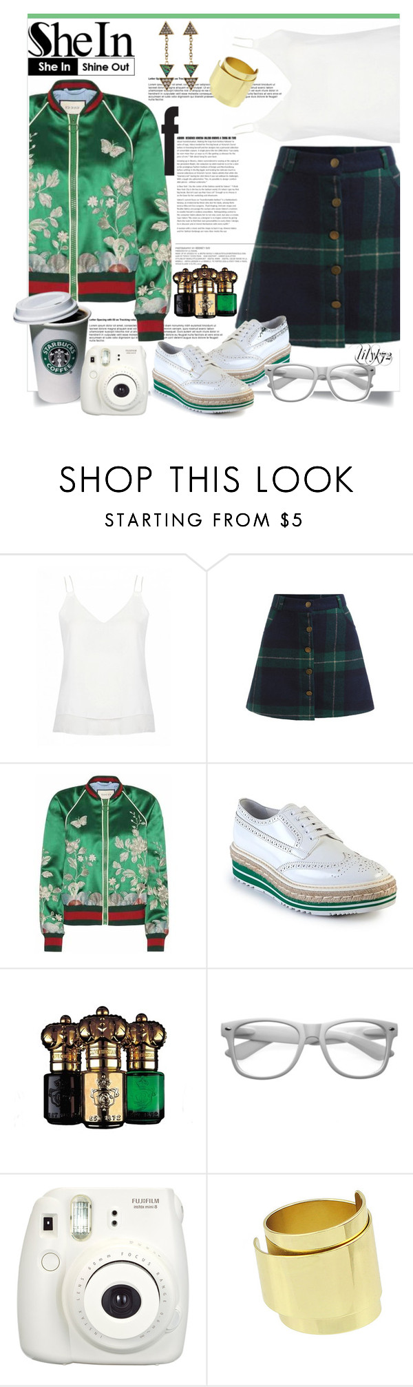 """""""Shein.com contest"""" by lilyk72 ❤ liked on Polyvore featuring Gucci, Prada, Clive Christian, Retrò, skirt, plaid, Sheinside and shein"""