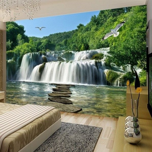 3d Waterfall Stones Lake Nature Scene Wallpaper Wall Mural Wall Wallpaper Custom Photo Wallpaper Waterfall Landscape