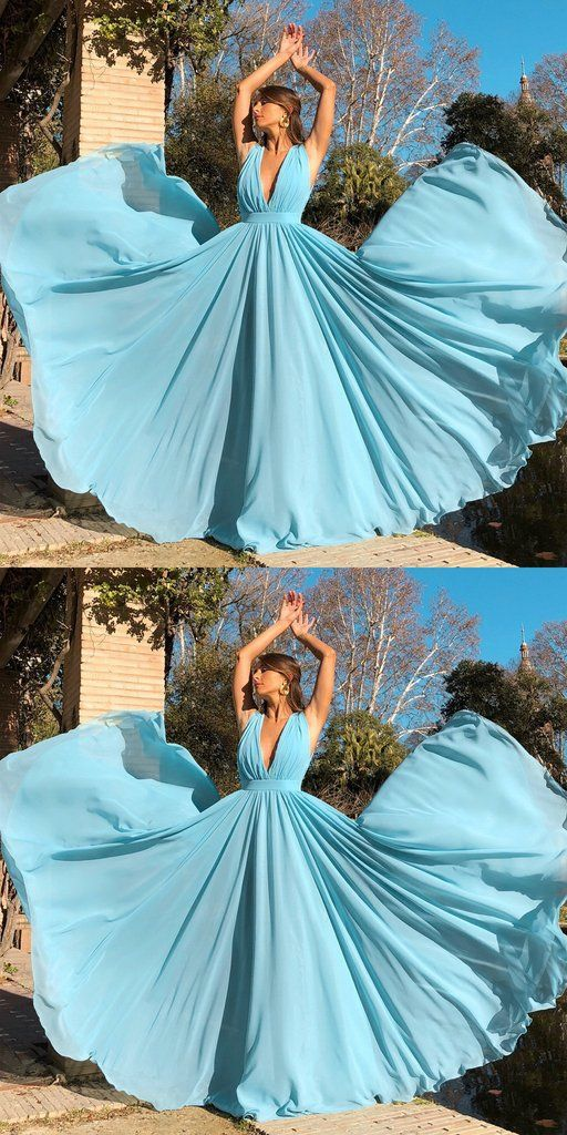 Sexy Long Deep V-Neck Prom Dress Custom Made Long Simple Evening Gowns Fashion Long School Dance Dress PD819 #schooldancedresses