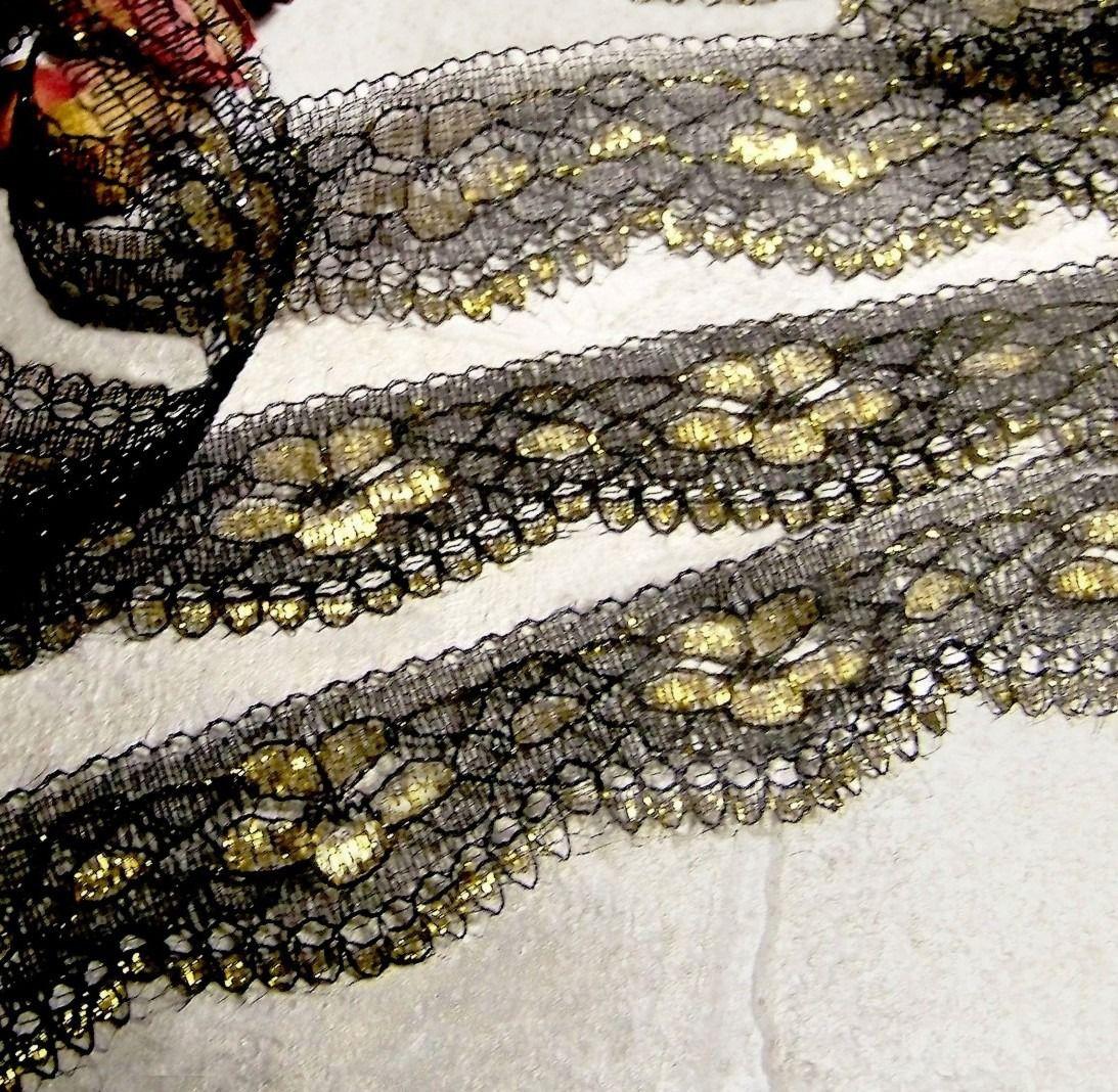 Dentelle Rachel Galon ruban tulle brodé noir et doré - RDENT30 : Rubans par kersidan