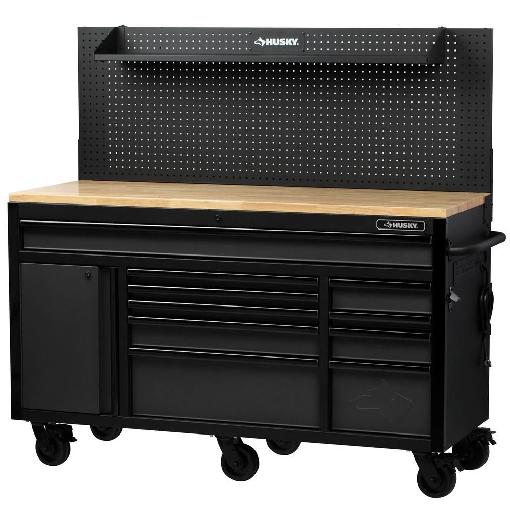 Husky Heavy Duty 61 In W Deep 10 Drawer 1 Door Tool Chest Mobile Workbench In Matte Black With Flip Up Pegboard H61mwc10pb The Home Depot Mobile Workbench Workbench Tool Chest