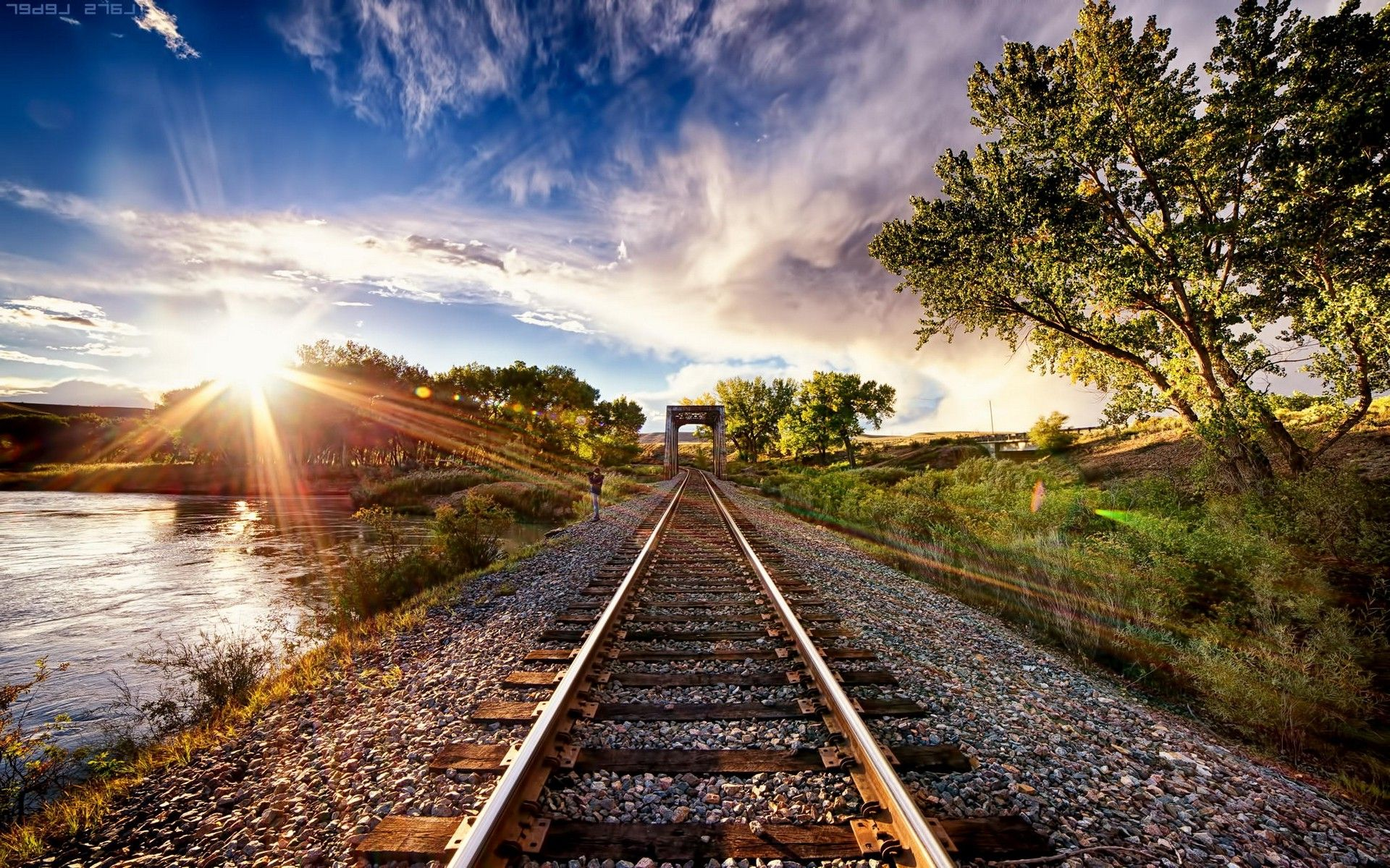 Nature Landscape Sunset Tracks Train Sun Rays Trees Clouds River Hdr Wallpapers Hd Desktop And Mobile Backgrounds Landscape Nature Train Tracks
