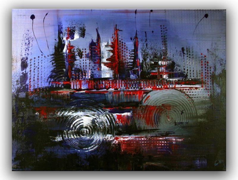 BURGSTALLER Leinwandbild Gemälde abstrakt Bild Malerei Blau Modern