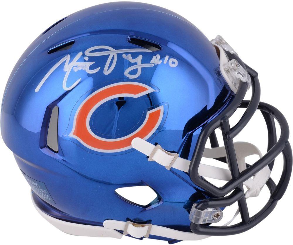 Mitchell Trubisky Chicago Bears Signed Riddell Chrome Alternate Mini Helmet | Chicago bears ...