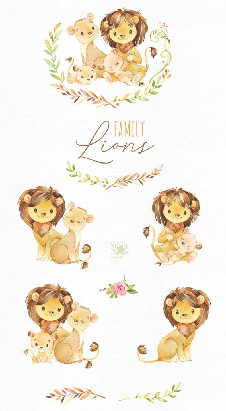 Lions Family Watercolor Little Animal Clipart Cubs Mother Father Lion Girl Hugs Wreath Love Birthday Greeting Baby Born Baby Shower Dibujos Bonitos Familia Del Leon Dibujo Animales Infantiles