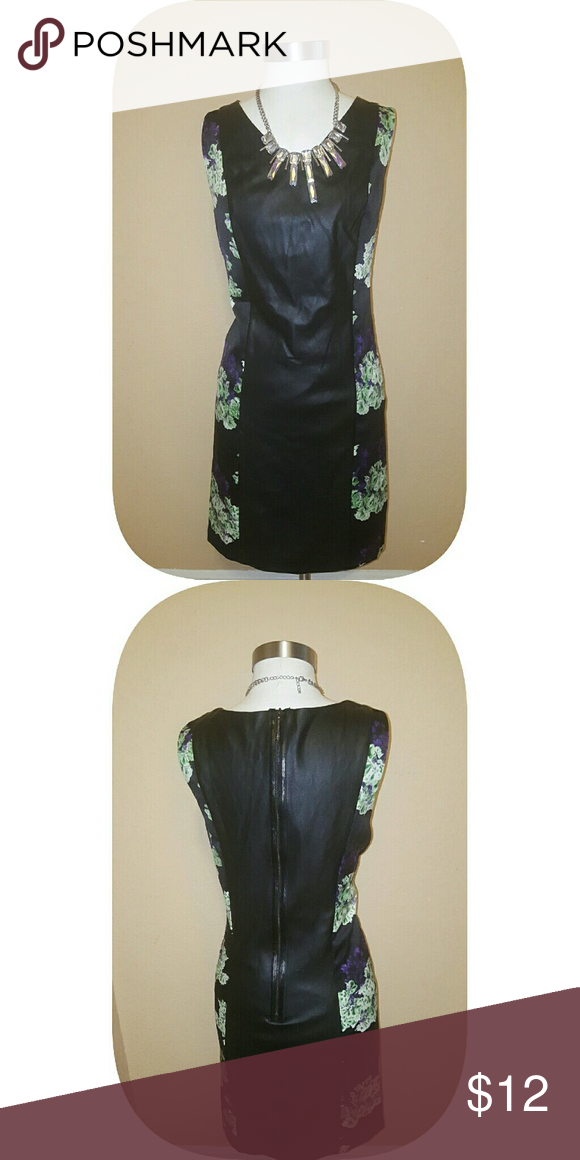 Black faux floral dress Kensie black floral mini dress   faux leather front & back    floral sides   Very Good Condition  *Necklace sold separately* Kensie Dresses Mini