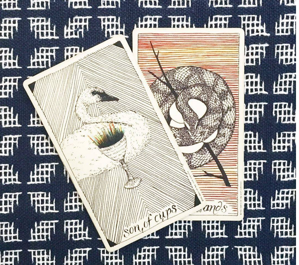 Real life tarot images of modernmystic_tarot instagram Son of Cups and Son of Wands.