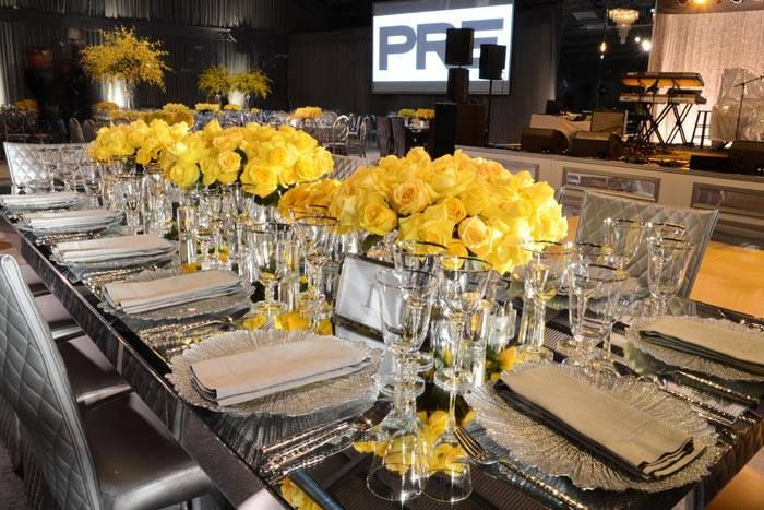 Bet Awards Dinner Table Setting Dinner Decoration Silver Party Decorations