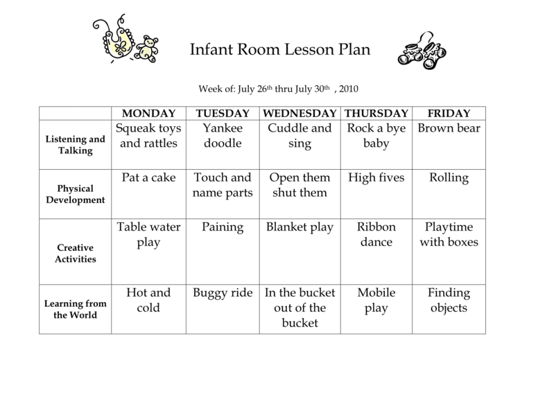 Infant Room Lesson Plan Westlake Childcare Page 4