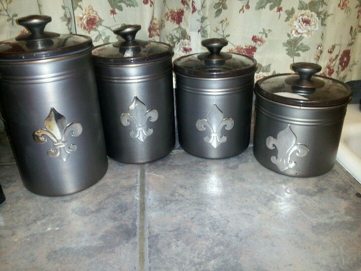 Gentil Fleur De Lis Canisters Coffee/sugar/all Purpose Flour/self Rising Flour