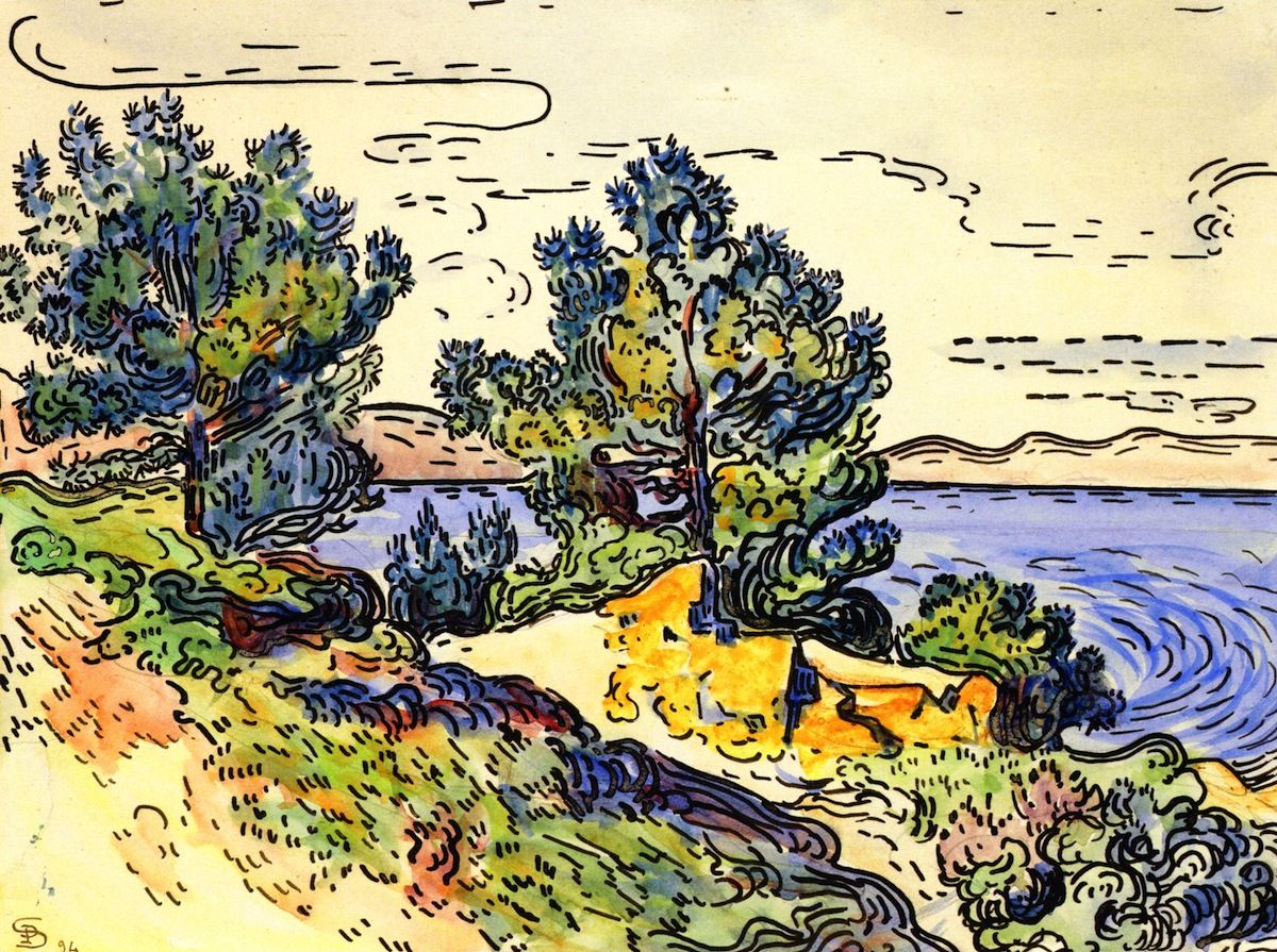 Watercolor art history - Paul Signac Coastal Landscape With Trees 1894 Art Museumart Historygeorges