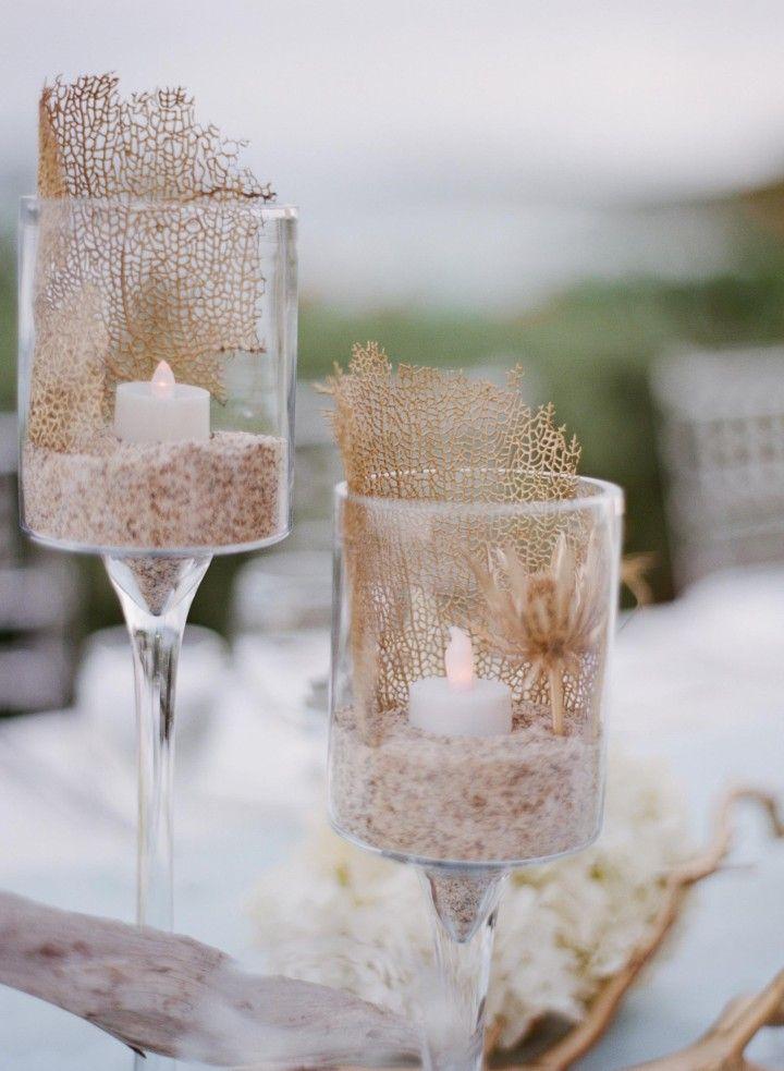 beach wedding centerpiece idea; photo: Sylvie Gil