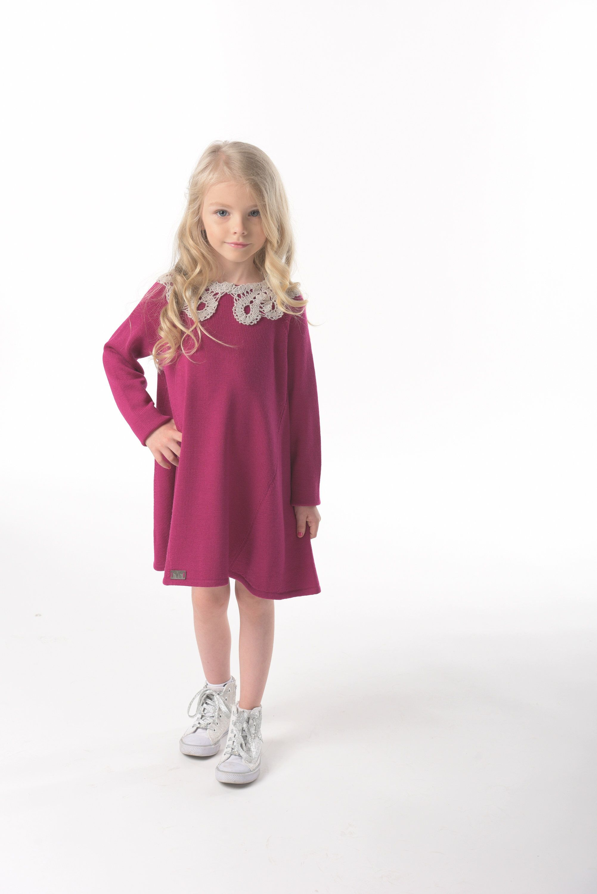 792531009 Fuchsia girls dresses Merino wool Midi dress Birthday dress Mommy ...