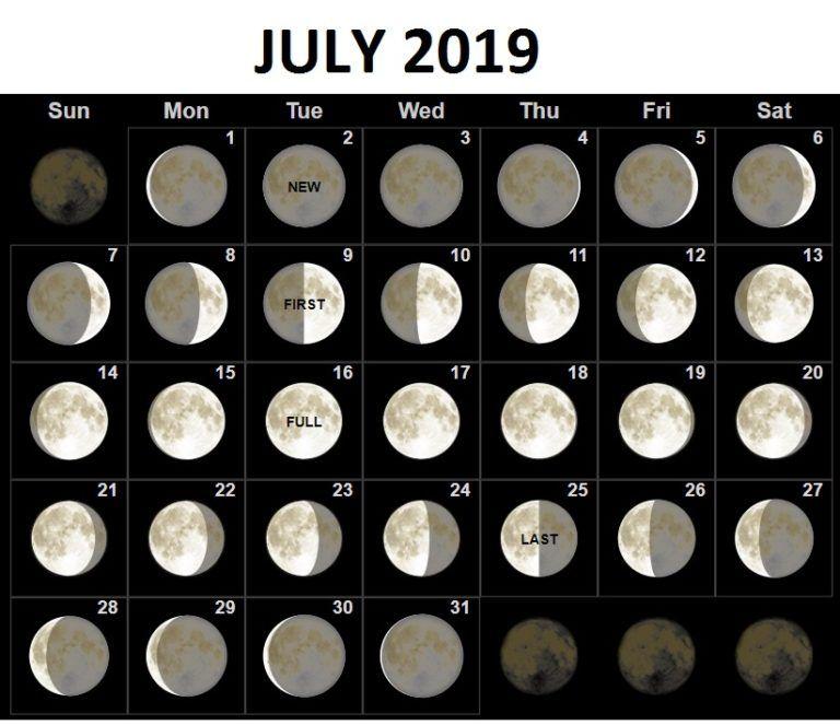 moon phase calendar july 2019