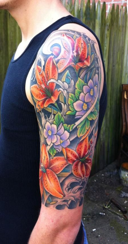 Diego Graceland Tattoo Flower Sleeve Front View Half Sleeve
