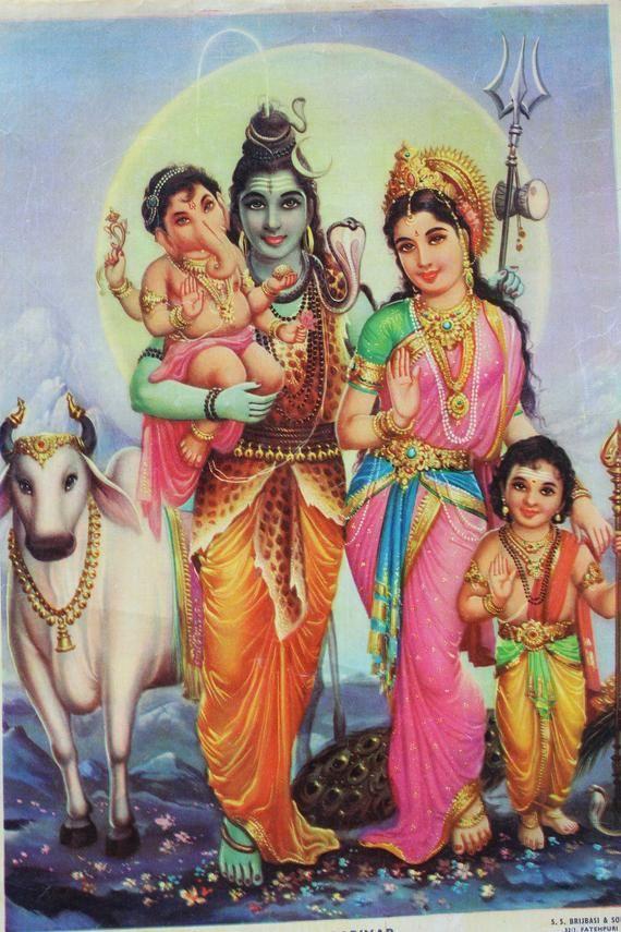Hindu god print of shree Shiva Parwati Bal Ganesha