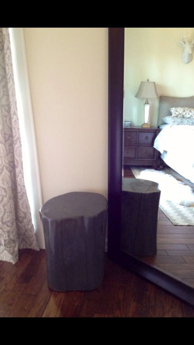 Gray Stained and Glazed Elm Log Changing Stool