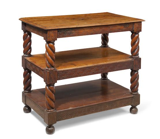 A Scandinavian Baroque style walnut two-tiered table 19th century