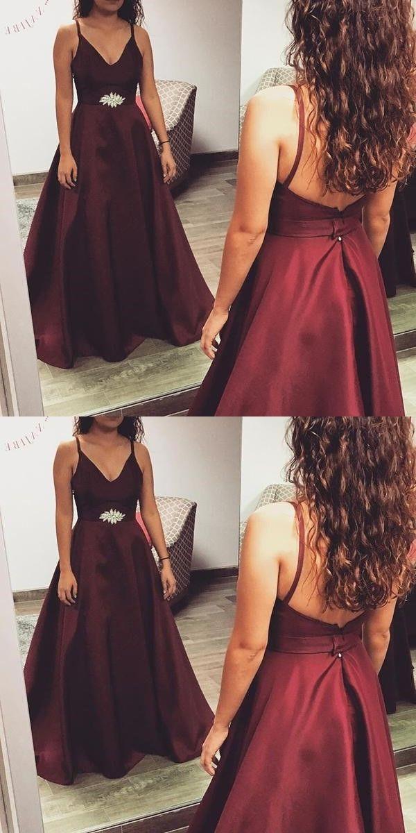 A Line Spaghetti Straps Burgundy Satin Prom Dress With Beading