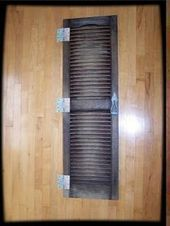 Faux wood shutter made out of a plastic white shutter. #faux…