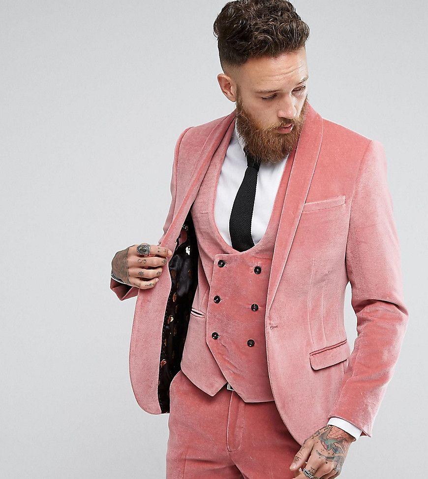 Noose & Monkey Super Skinny Suit Jacket In Velvet With Shawl - Pink ...