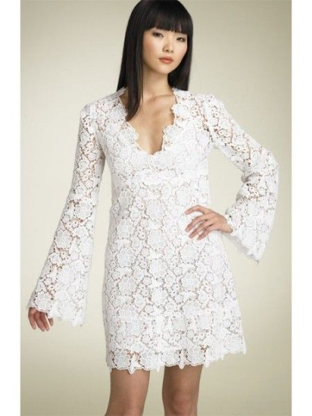 short lace wedding dress with long sleeves Short Lace Wedding ...
