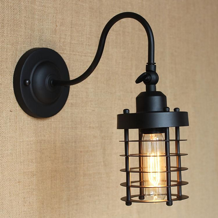 Vintage Small Iron Cages Wall Sconce Black Edison Bulb Fixture