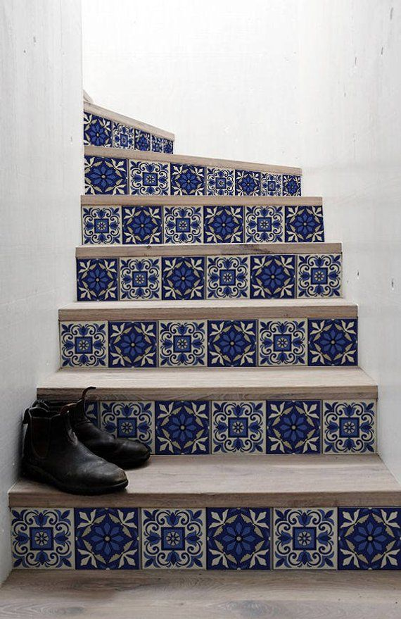 10 strips of Stair Riser – moroccan | removable sticker peel & stick | Staircase decor | Staircase decals | removable Star riser decals S#5