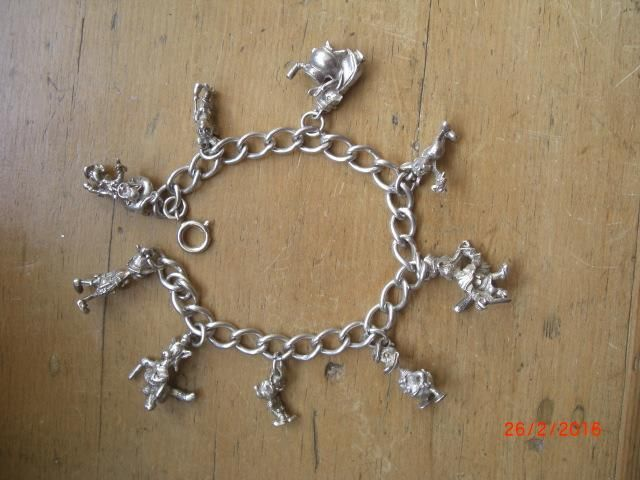 Vintage Sterling Silver Disney Charm Bracelet 1940s Anything
