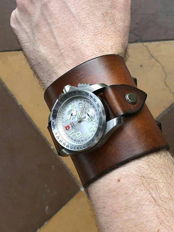 montre homme large bracelet cuir