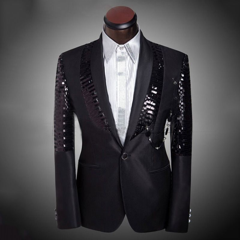 2016 New Arrival Mens Fashion Design Sequined Prom Suit Tuxedo ...
