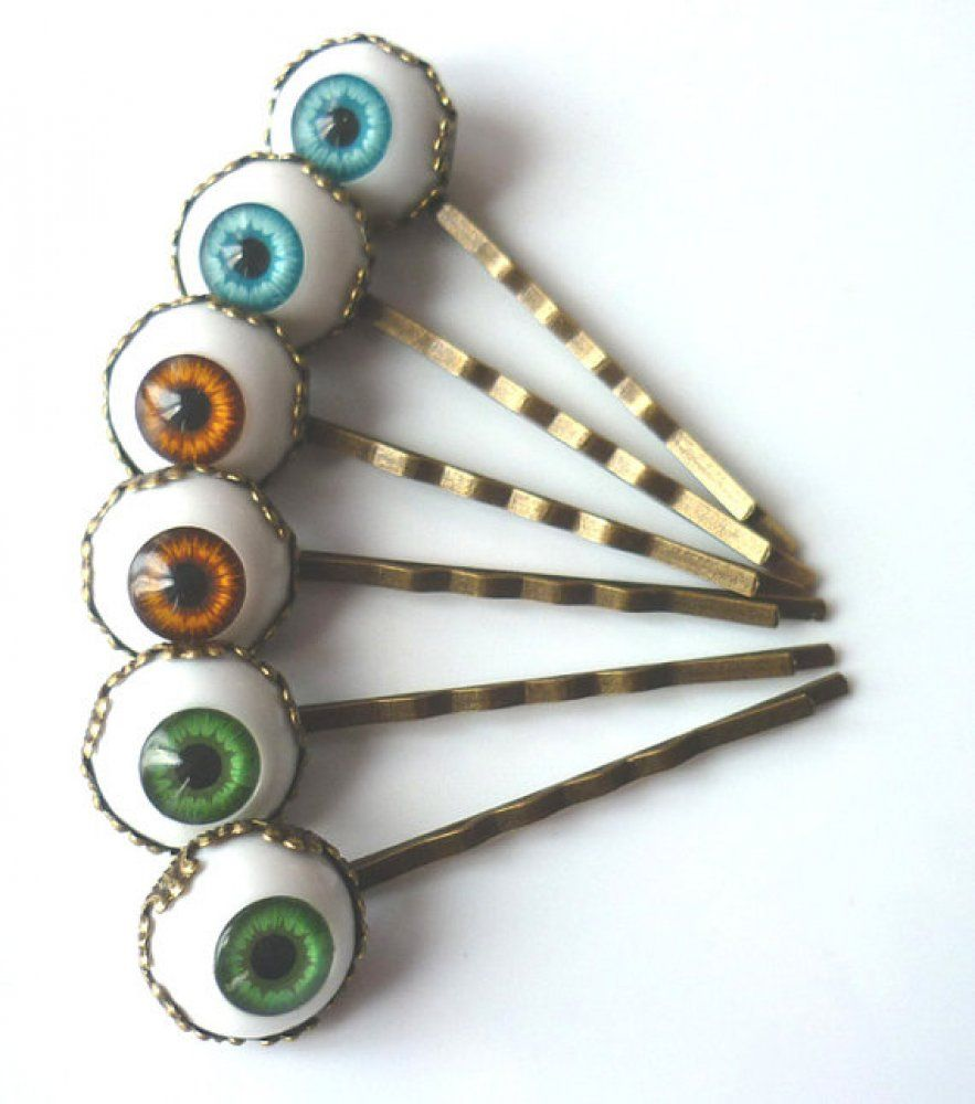 Pair Of Hair Pins Clips Brown Eyes Gothic Steampunk | Frogs Don't Make Princes | I Am Attitude