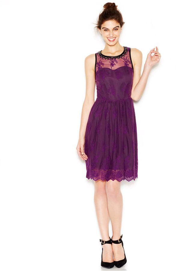 6e1ca66c6aa Kensie Sleeveless Embellished Mesh-Overlay Dress on shopstyle.com ...