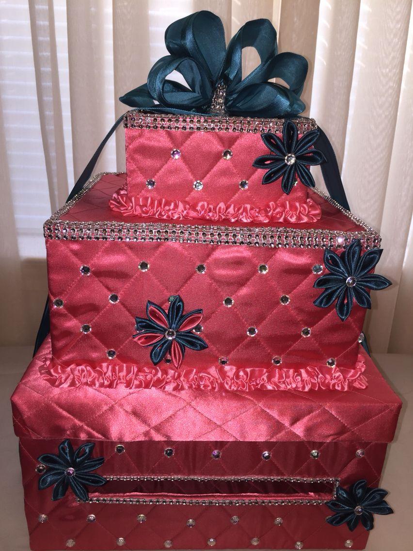 Coral Teal Wedding Card Box