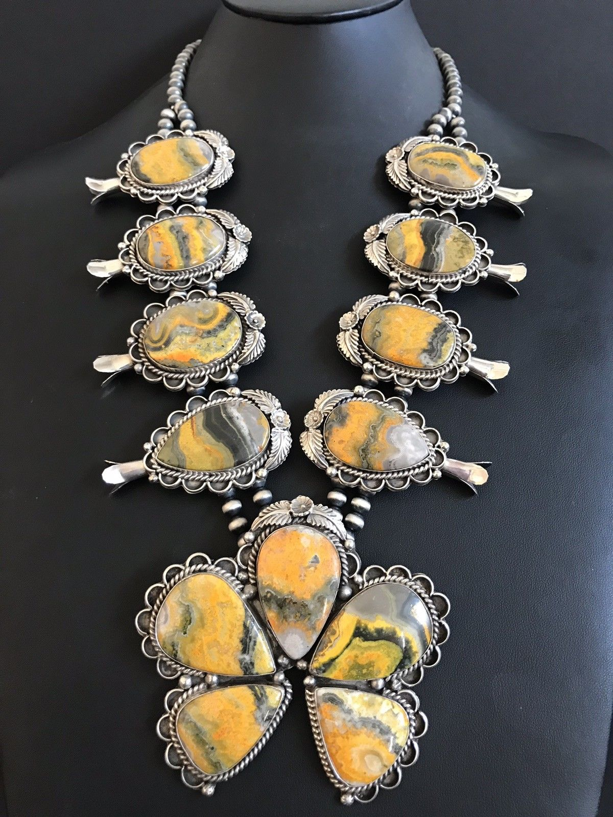 b22571bbf Navajo sterling and Bumblebee jasper squash blossom necklace ...