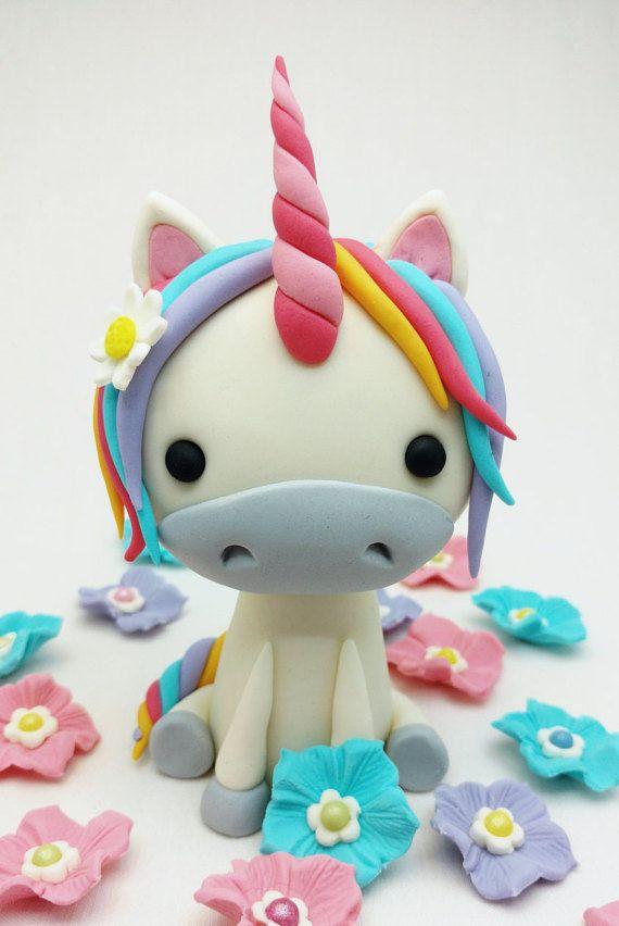 Unicorn Horse Pony and Flowers Birthday Cake Fondant Topper Set